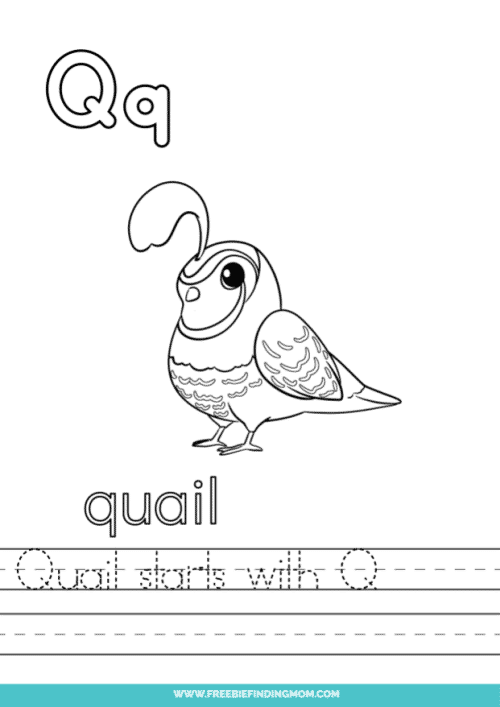 printable words that start with Q worksheet