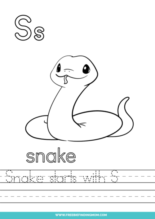 printable words that start with S worksheet