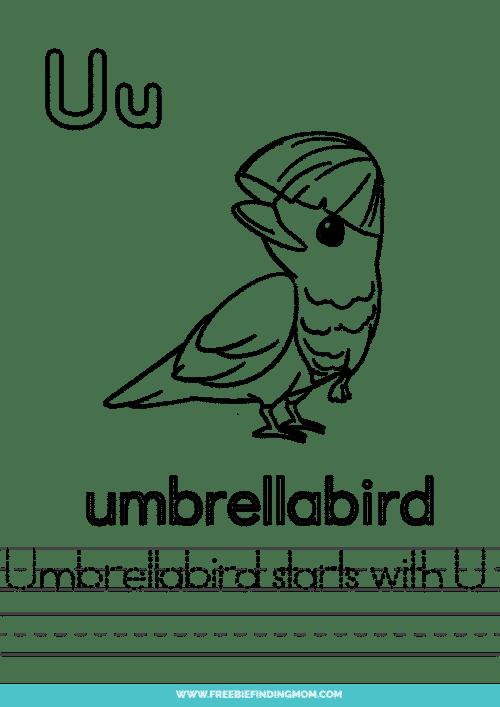 printable words that start with U worksheet