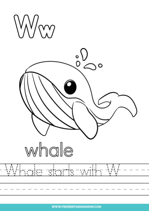 printable words that start with W worksheet