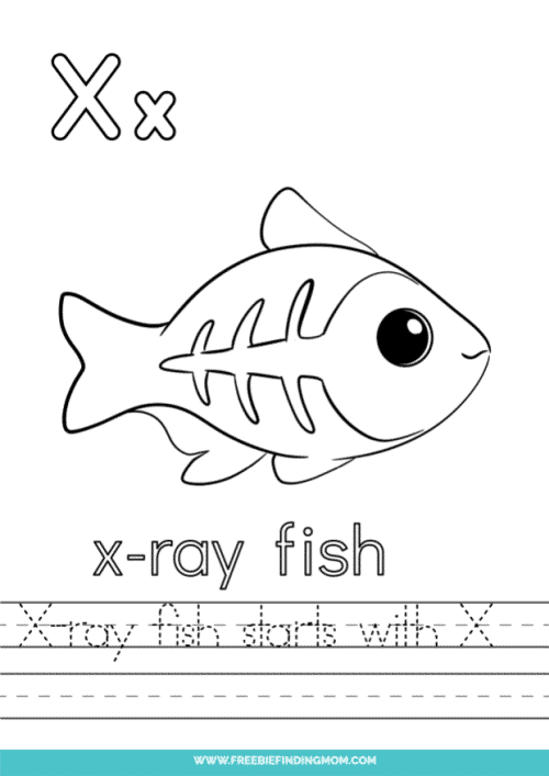 printable words that start with X worksheet