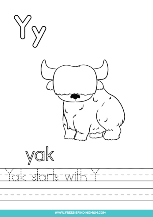 printable words that start with Y worksheet