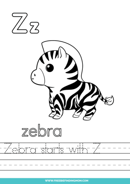 printable words that start with Z worksheet