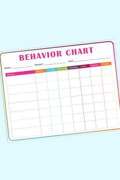 printable behavior chart for kids