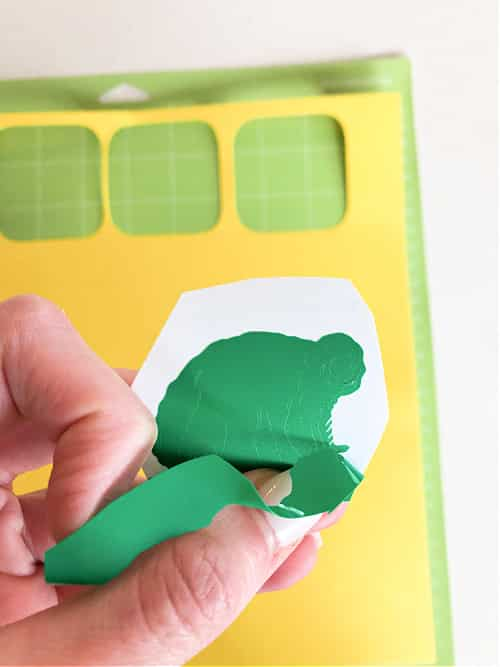 Remove the Smart Vinyl backing from the animals for your ABC letter games for kids.