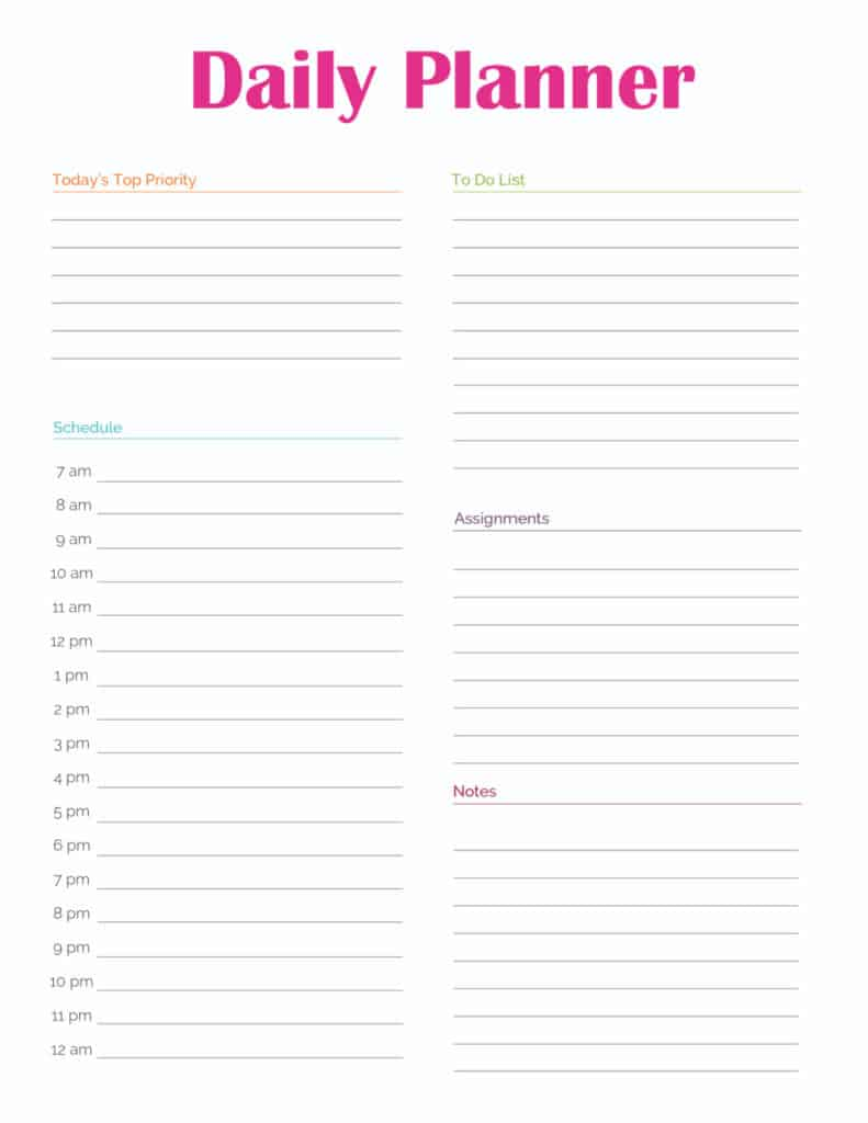 This student planner daily planner template printable will allow a student to record their daily schedule, to do list, assignments, day's top priorities, and notes.