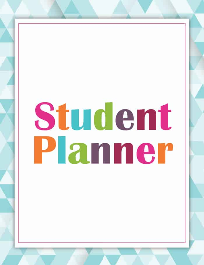 student planner printable cover blue
