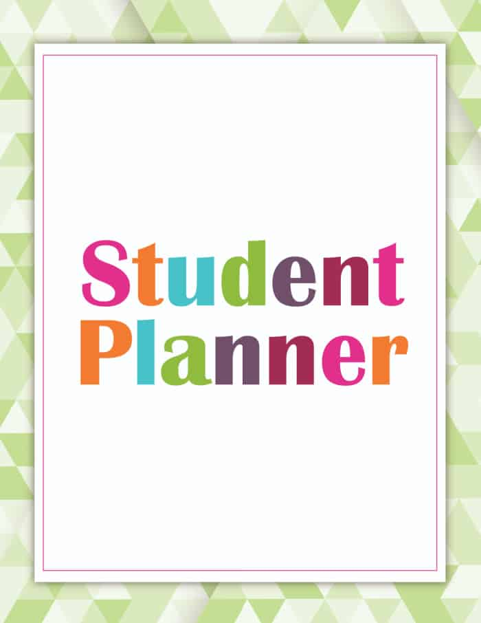 student planner printable cover green