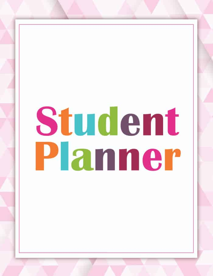 student planner printable cover pink