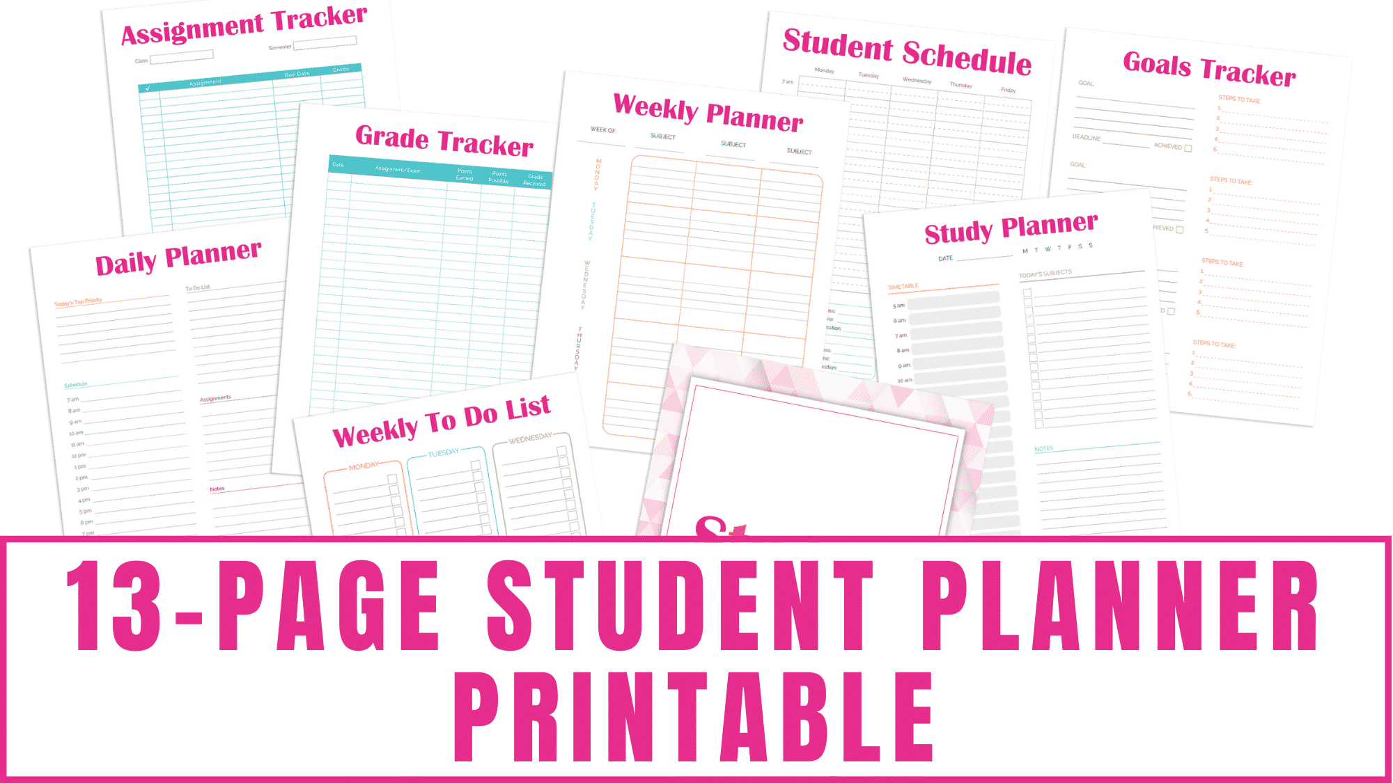 If you are looking for a student planner printable that is packed with organization you are in the right place. This printable student planner includes a daily planner, a class schedule template, a study planner, a weekly to do list, a goal tracker template, a 2-page student weekly planner, a grade tracker printable, an assignment tracker template, and a notes page.