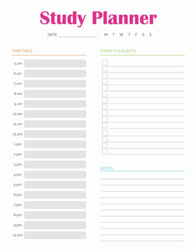 On this student planner study planner printable PDF download your student can record their daily study schedule, day's subjects, and notes.