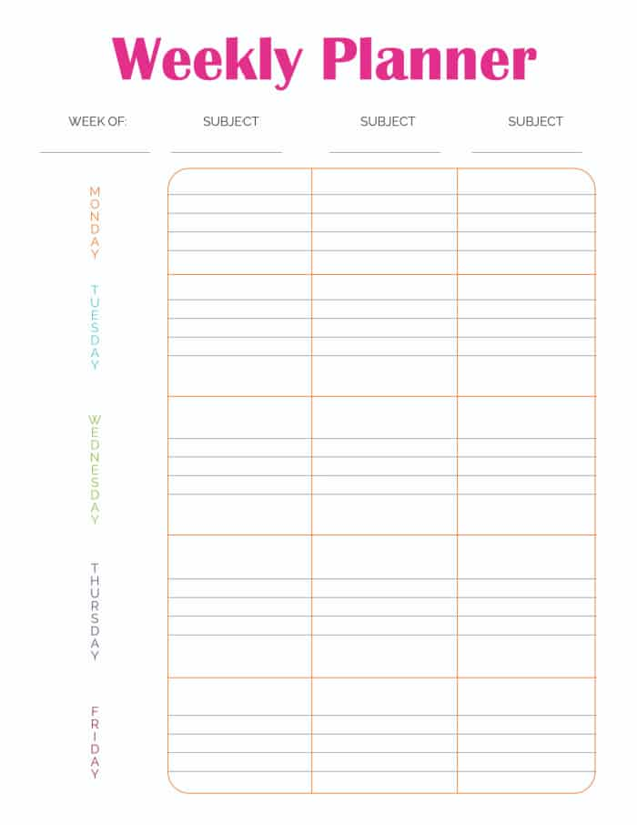 This weekly planner template printable is labeled Monday through Friday so can plan out your school or work week.