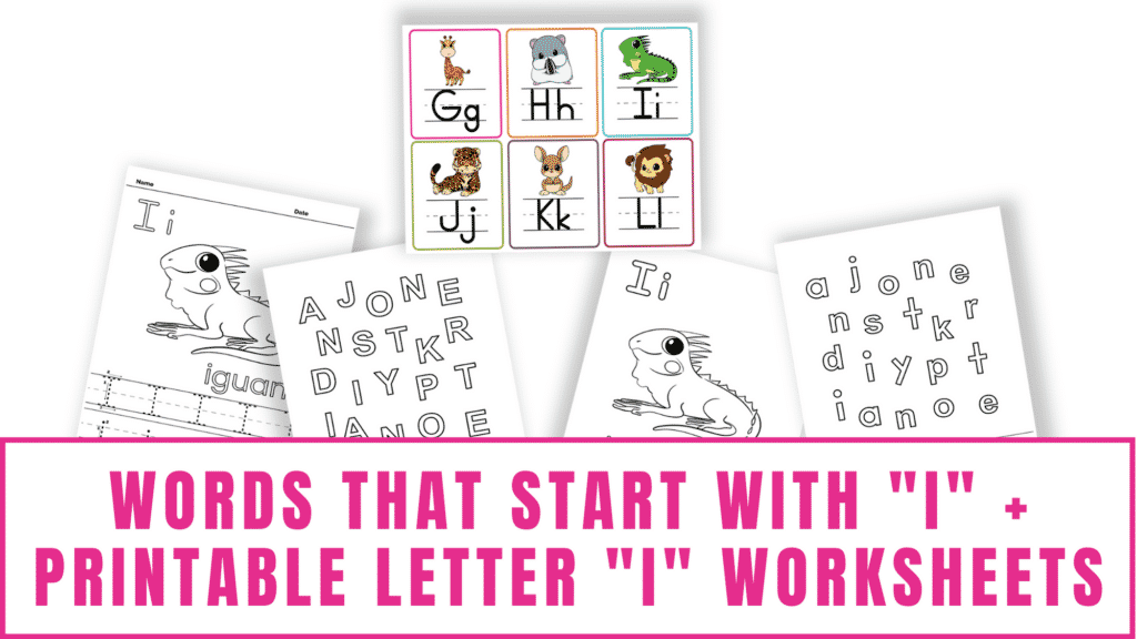 words that start with I printable letter I worksheets