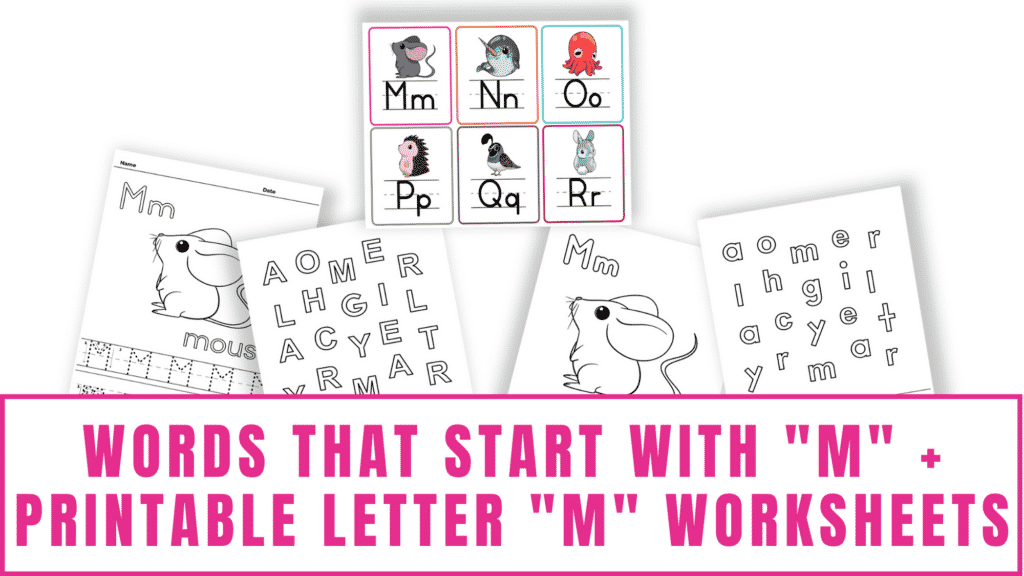 words that start with M printable letter M worksheets