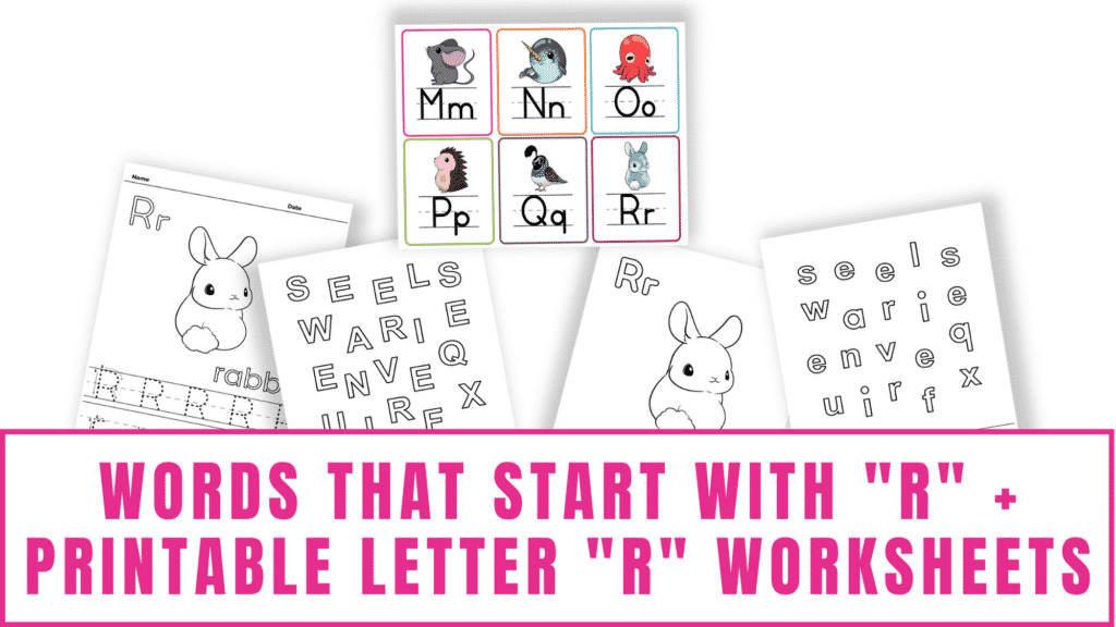 words that start with R printable letter R worksheets