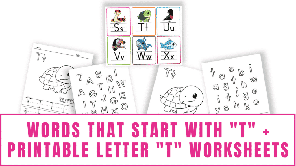 words that start with T printable letter T worksheets