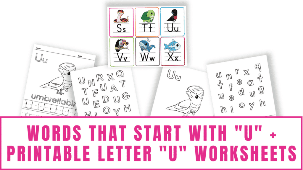 words that start with U printable letter U worksheets