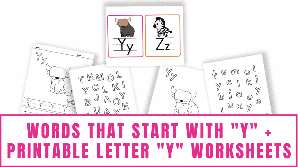 words that start with Y printable letter Y worksheets