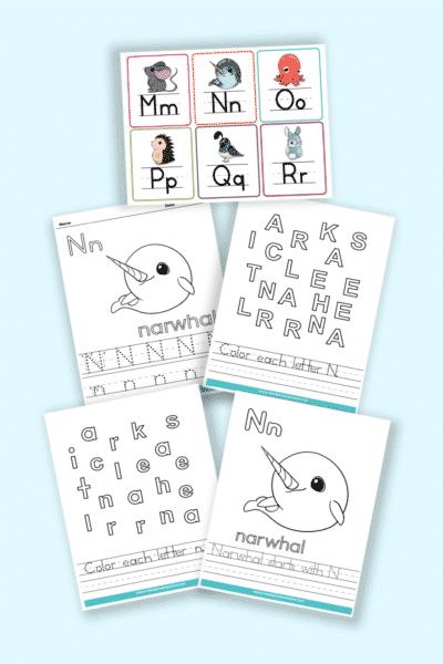 words that start with N printable letter N worksheets