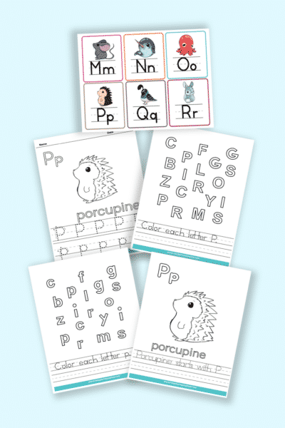 words that start with P printable letter P worksheets