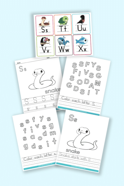 words that start with S printable letter S worksheets