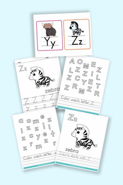 words that start with Z printable letter Z worksheets