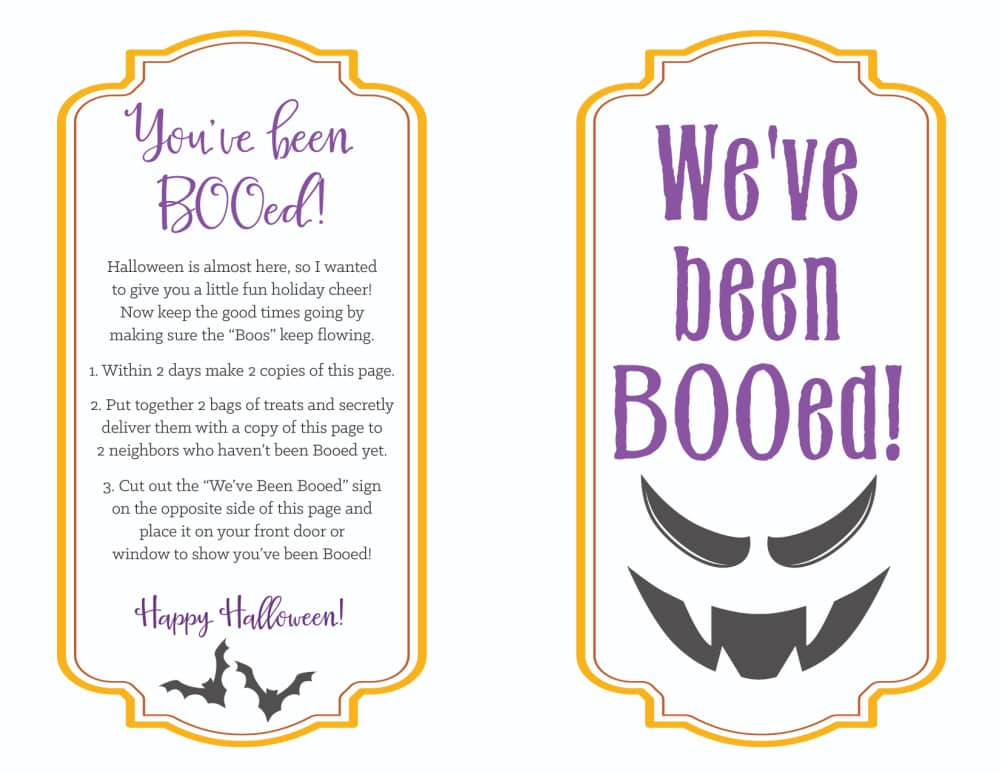 If you're looking for a scary good time go with this boo printable featuring bats and a menacing face!