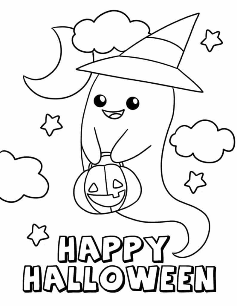 Let's call the friendly ghost in these cute free Halloween coloring pages for toddlers Casper.