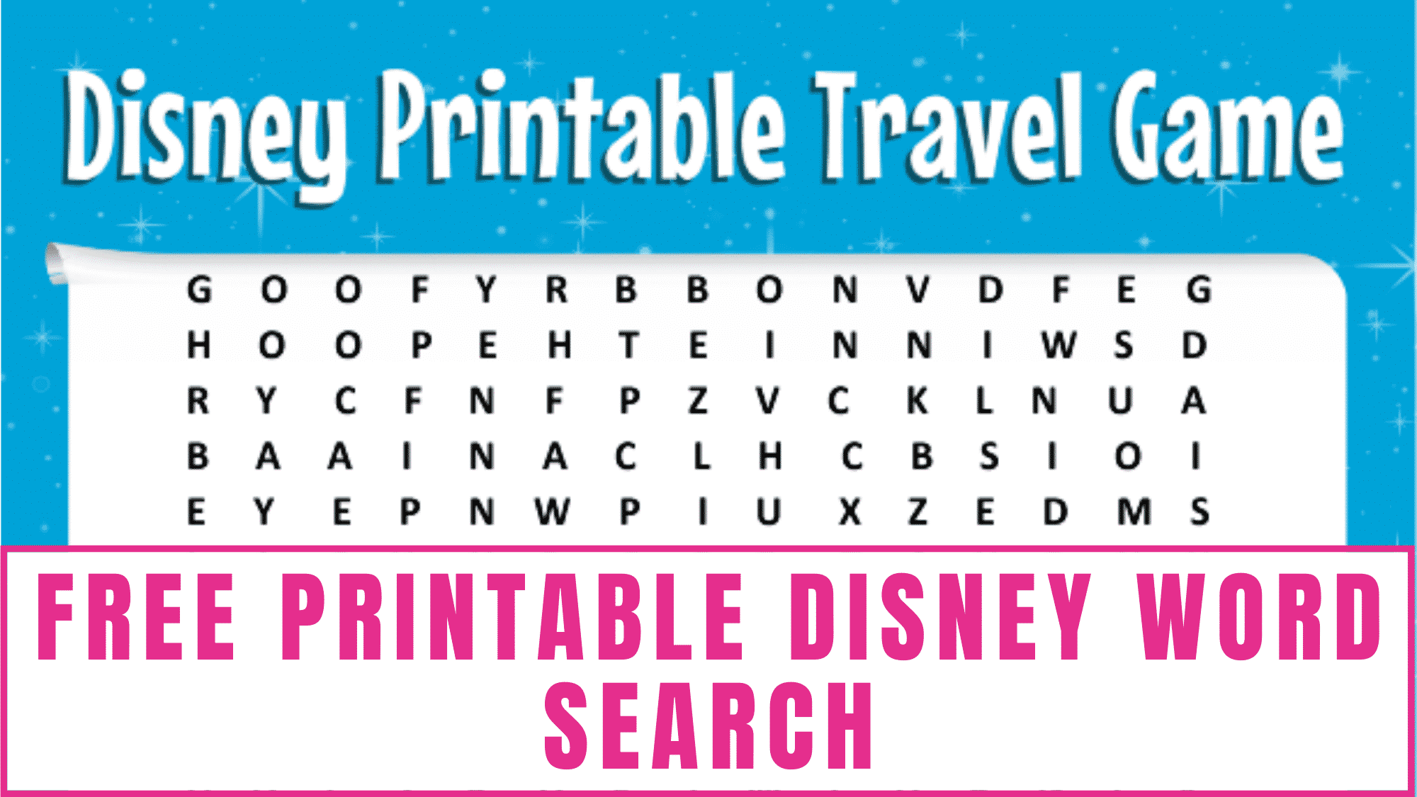 Heading on a road trip to Disney? Get your kid in the mood with this free Disney word search printable.