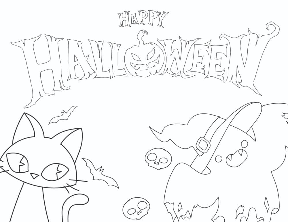 Add your artistic touch to these free Halloween signs printable downloads of a coloring sheet featuring a black cat, ghost, bats, and skulls.