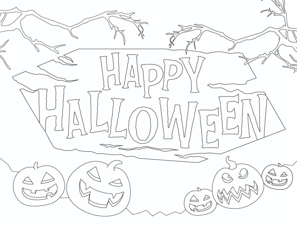 Get in the mood for pumpkin picking with this free happy Halloween sign printable coloring sheet featuring a pack of pumpkins!