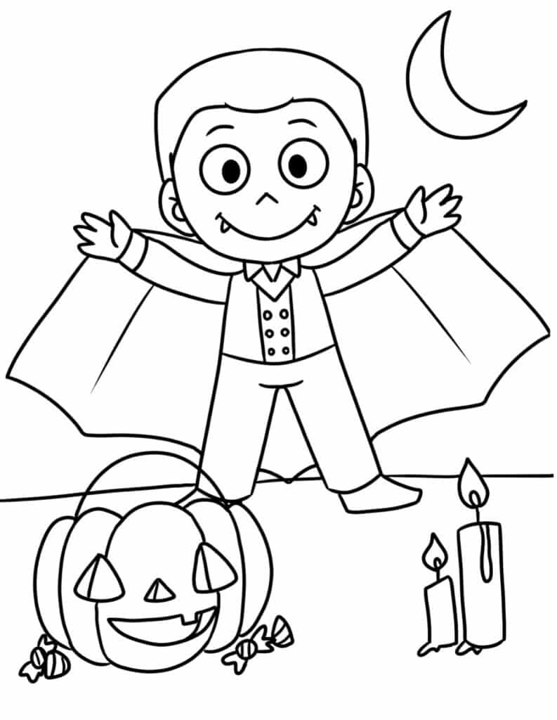 These free cute printable Halloween coloring pages PDF downloads feature an adorable vampire that is the farthest thing from scary!