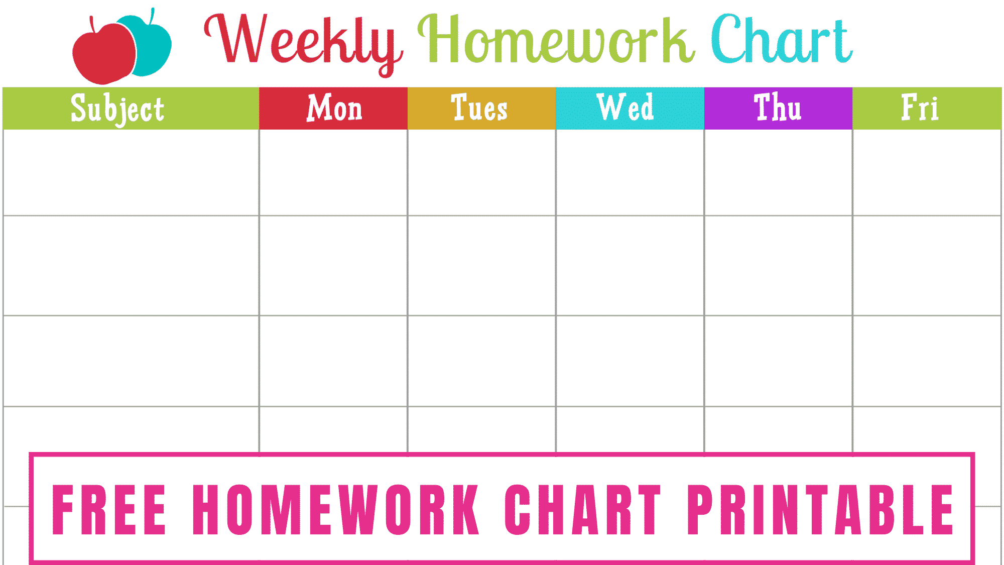 This bright and cheery free homework chart printable is a fun way to help kids keep track of their daily homework.