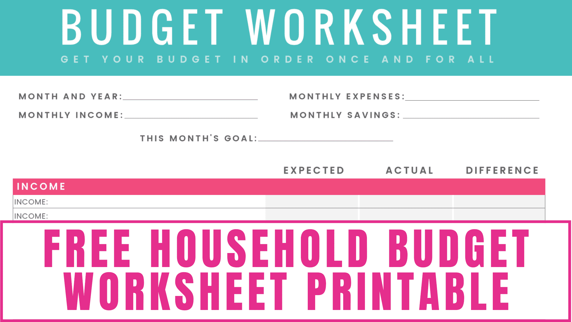 Do you need help budgeting? This free household budget worksheet printable makes setting and achieving your budgeting goals so much easier.