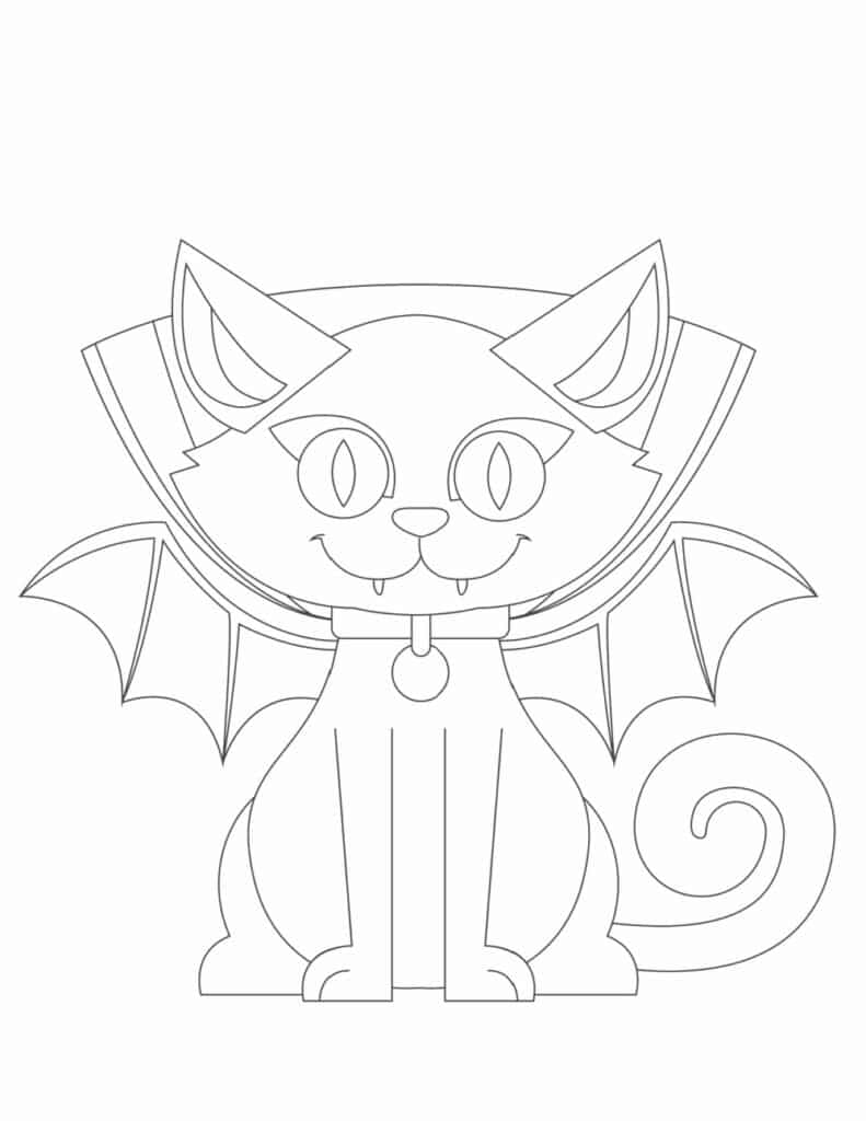 Forget Dracula, these free printable Halloween cat coloring pages for kids feature Catula, the cat vampire!