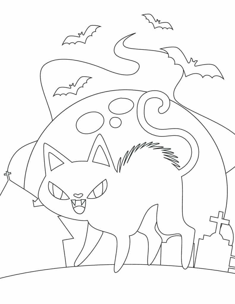 Watch out for the kitty in these free printable Halloween coloring pages, he may have used up 8 of his 9 lives!