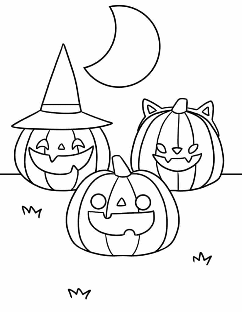 Forget the 3 little pigs, these free printable Halloween coloring pages for kids is all about the 3 little pumpkins!