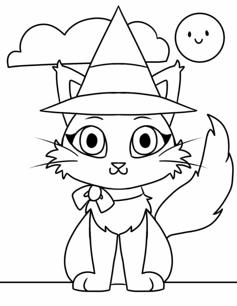 The cat in the hat is a classic, but these free printable Halloween coloring pages for toddlers offers a cat in a witch's hat.