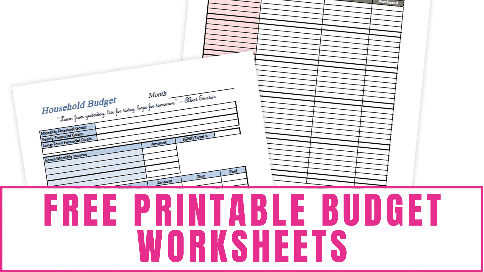 Budgeting spreadsheets don't have to be complicated. Some of the best budgeting worksheets are simple and easy to use like these free printable budget worksheets. Keeping them simple means you are more likely to continue using it thus resulting in a higher probability of reaching your budgeting goals.
