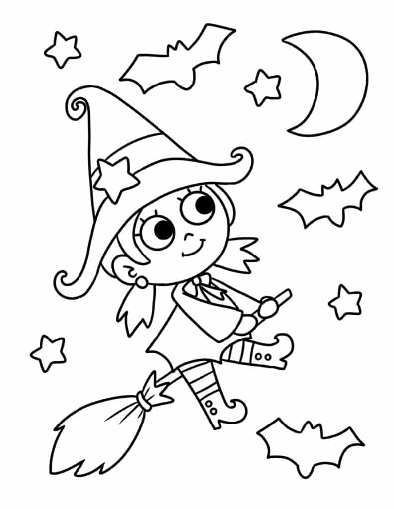 You'll be bewitched by the adorable witch in these free printable cute Halloween coloring pages PDF downloads.