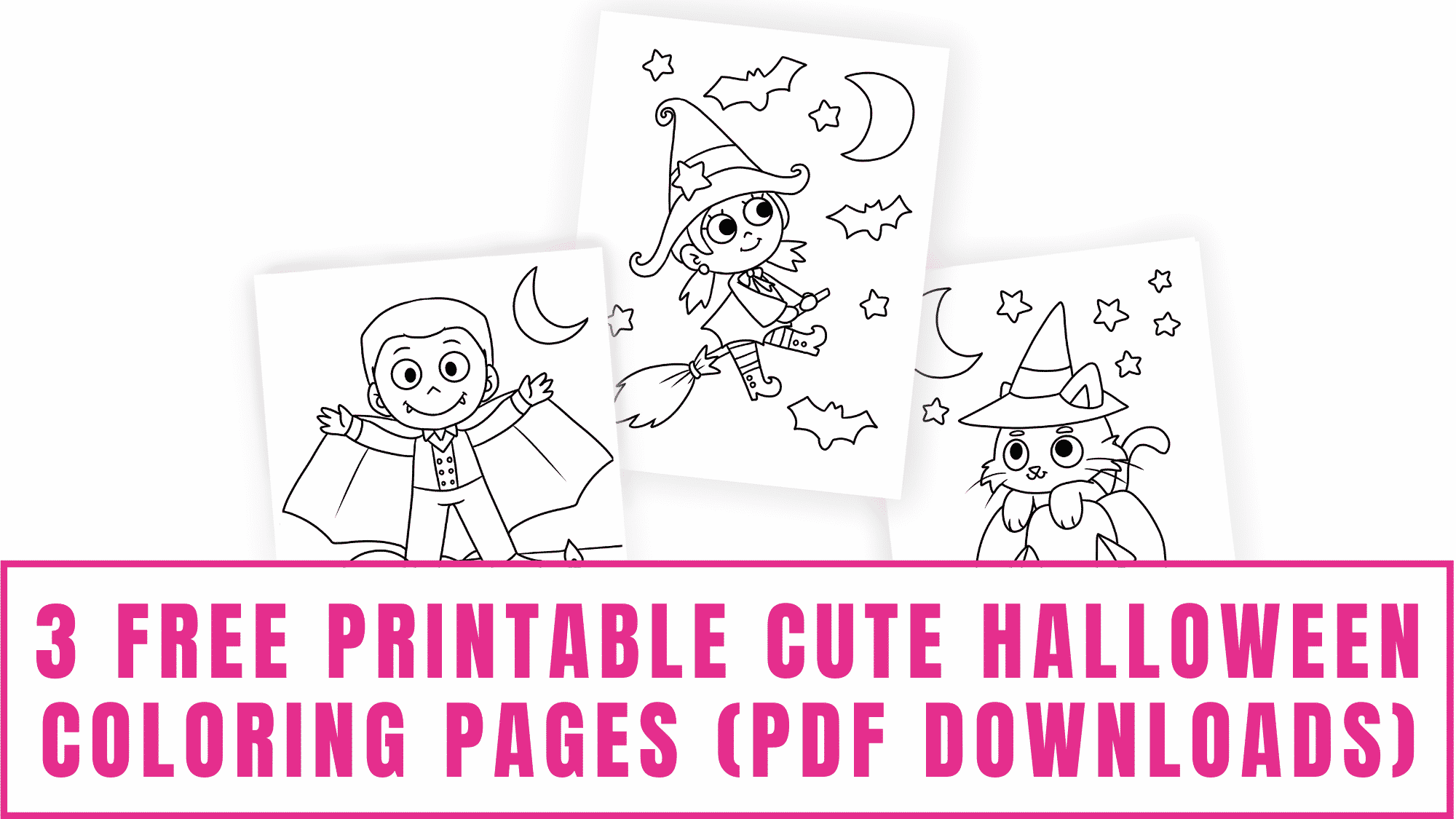 After your kid decorates these free printable cute Halloween coloring pages pdf downloads hang them proudly as a Halloween sign printable.