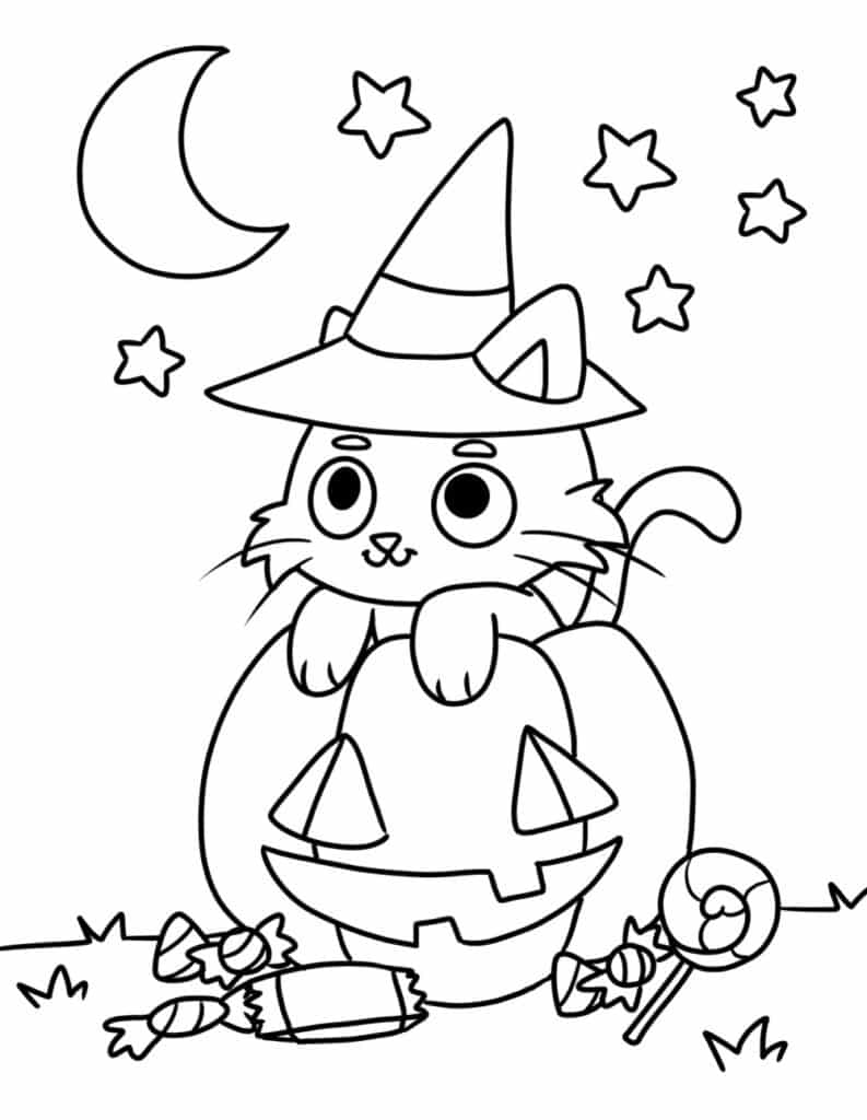 These free printable cute coloring pages Halloween PDF downloads includes a cat, jack-o-lantern, and candy for a guilt-free sweet treat.
