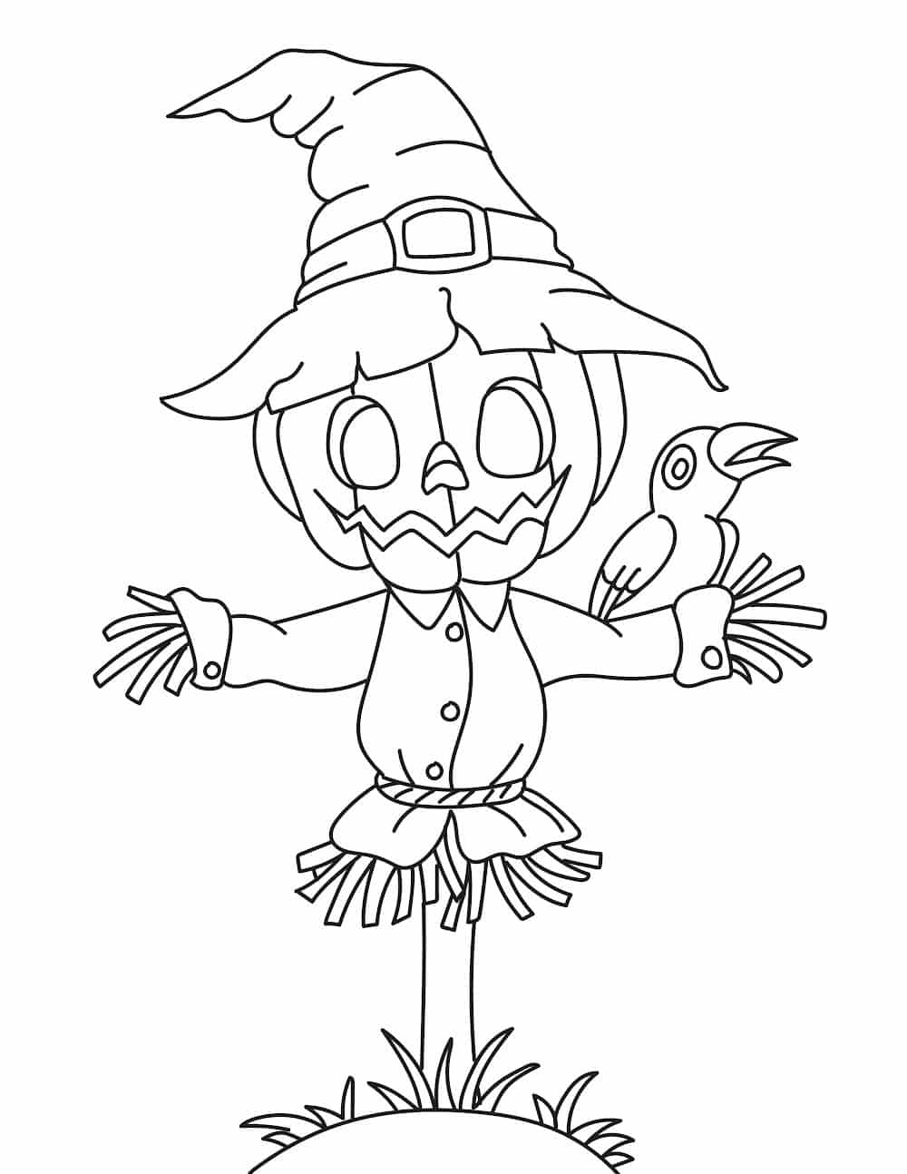 The scarecrow in these free printable fall coloring pages for adults and kids may not be very good at his job but he sure is cute!
