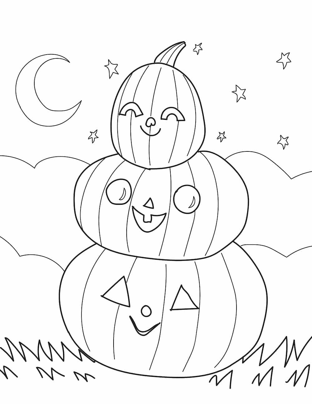 These free printable fall coloring pages for kids feature a trio of happy pumpkins just waiting for your child's artistic touch!