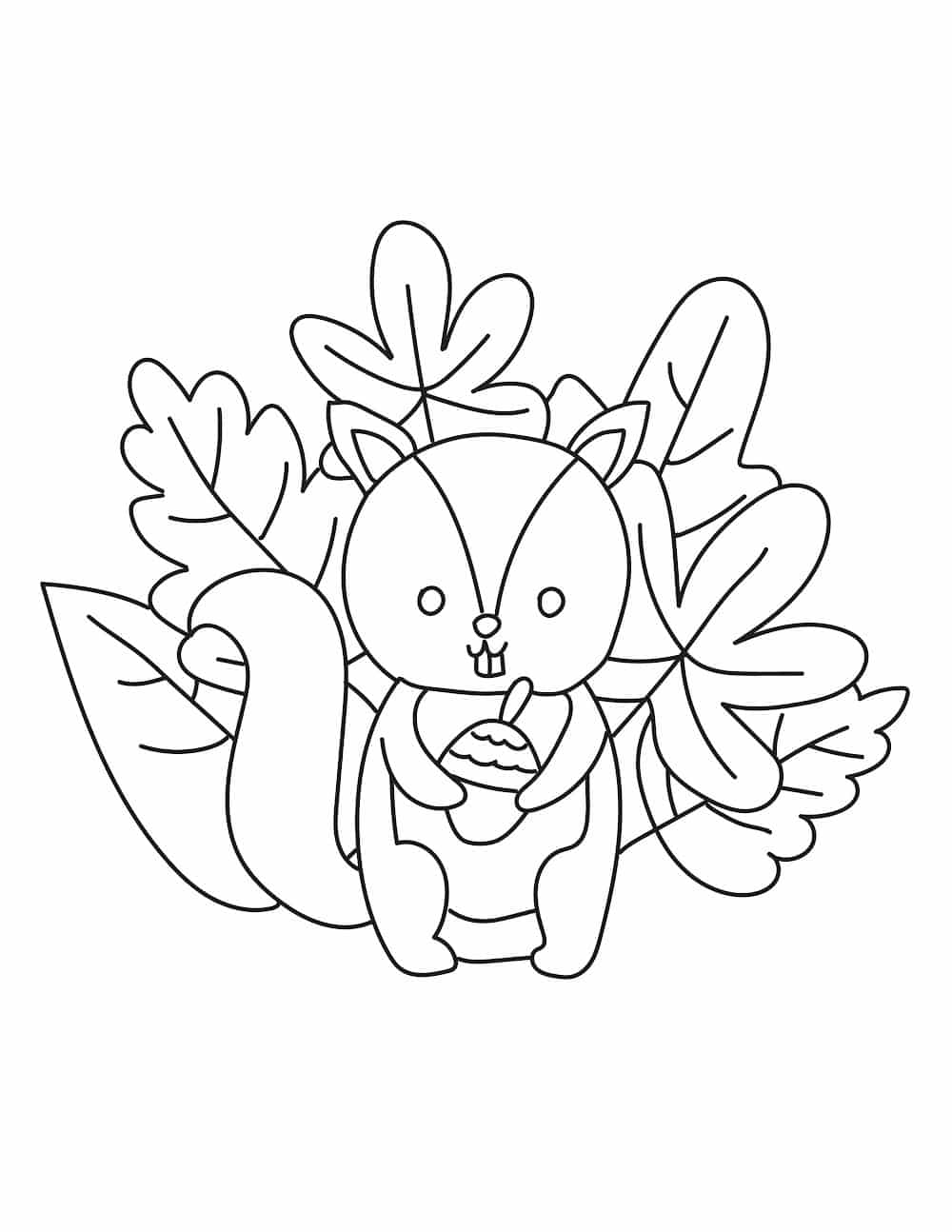 These free printable fall leaves coloring pages for kids feature a cute critter as well as leaves, so your kid can use all those bright crayons!