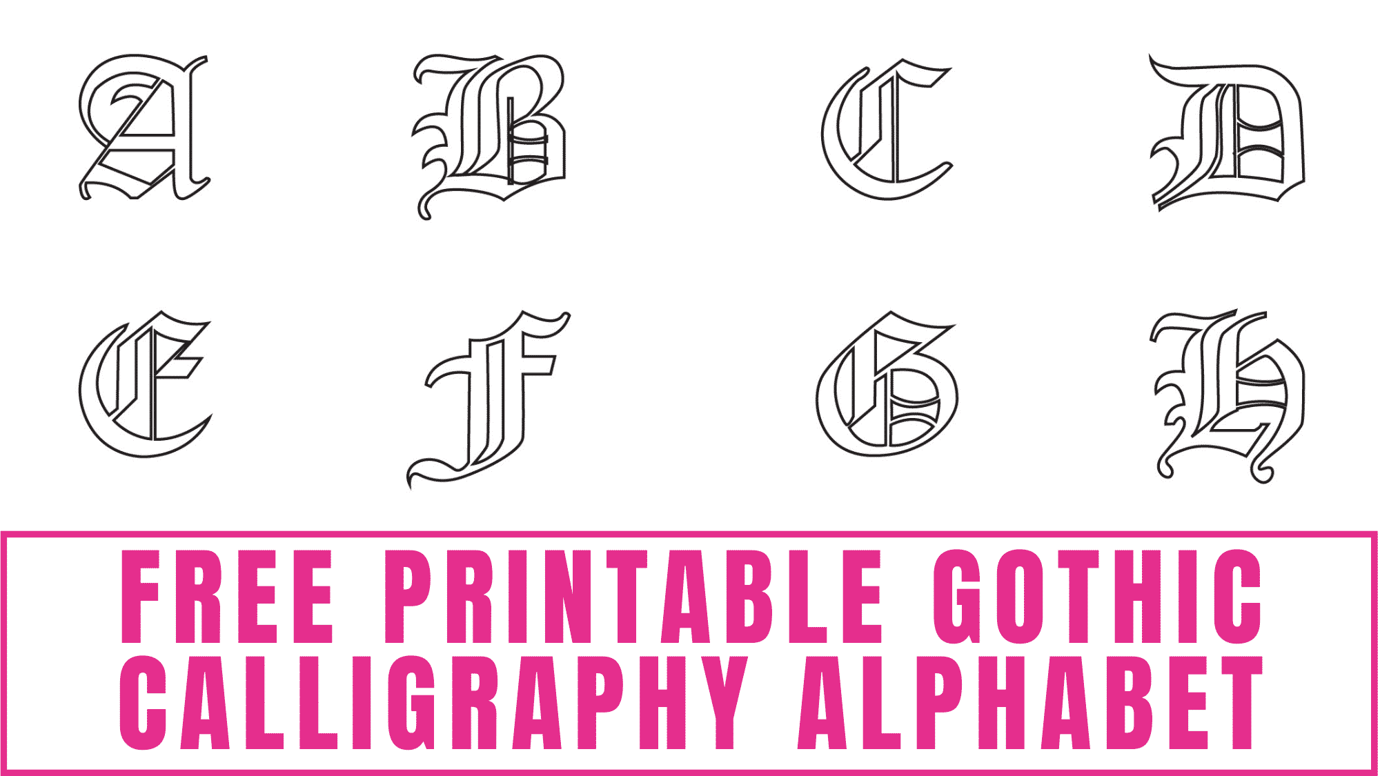 This free printable gothic calligraphy alphabet may not be the best calligraphy font to start with because it is complicated, but after you practice you'll have it down.