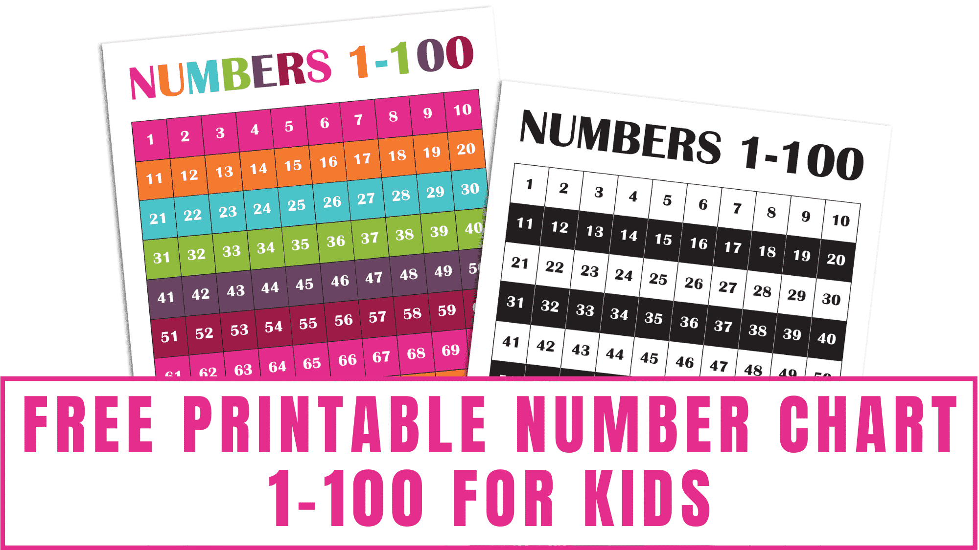 Help your kid learn how to count and work on number recognition by using this free printable number chart 1-100 for kids. Choose from a colored number chart to 100 or a black and white version.