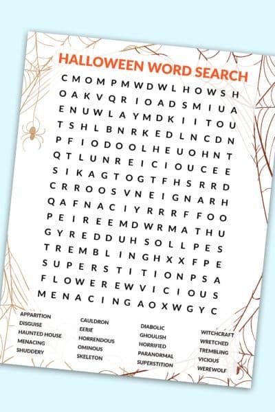free hard Halloween word search printable PDF download