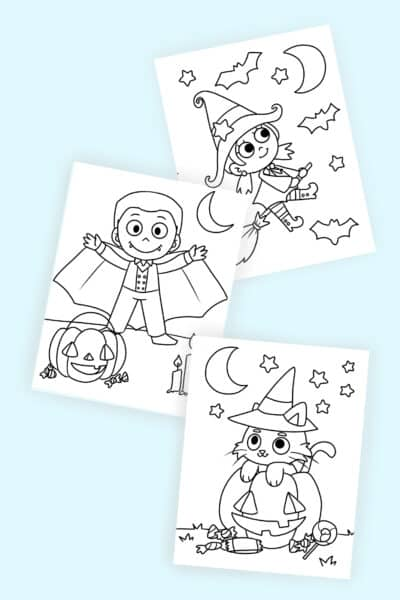 free printable cute Halloween coloring pages PDF downloads