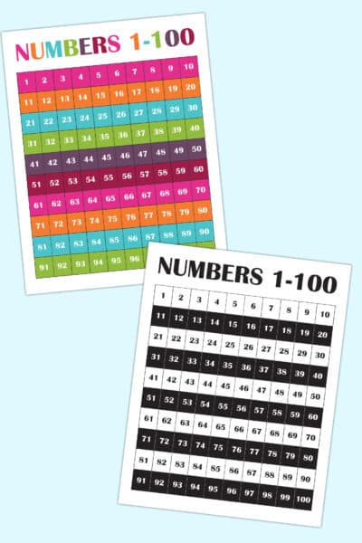 free printable number chart 1-100 for kids